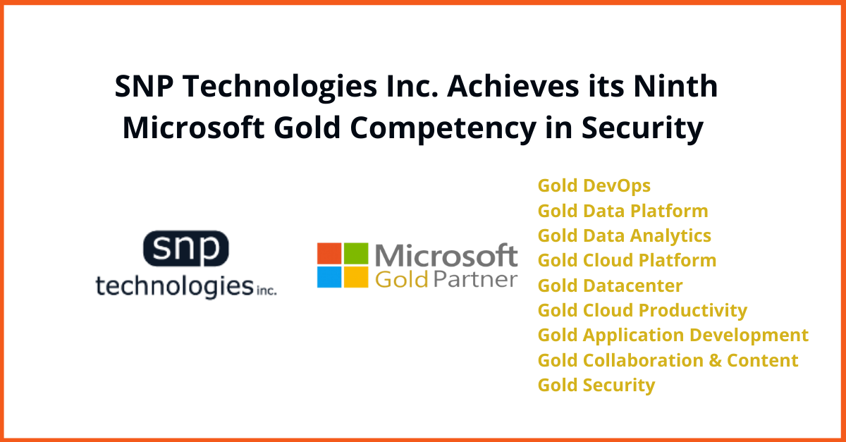 SNP Technologies Inc. Achieves Microsoft's Gold Security Competency Status